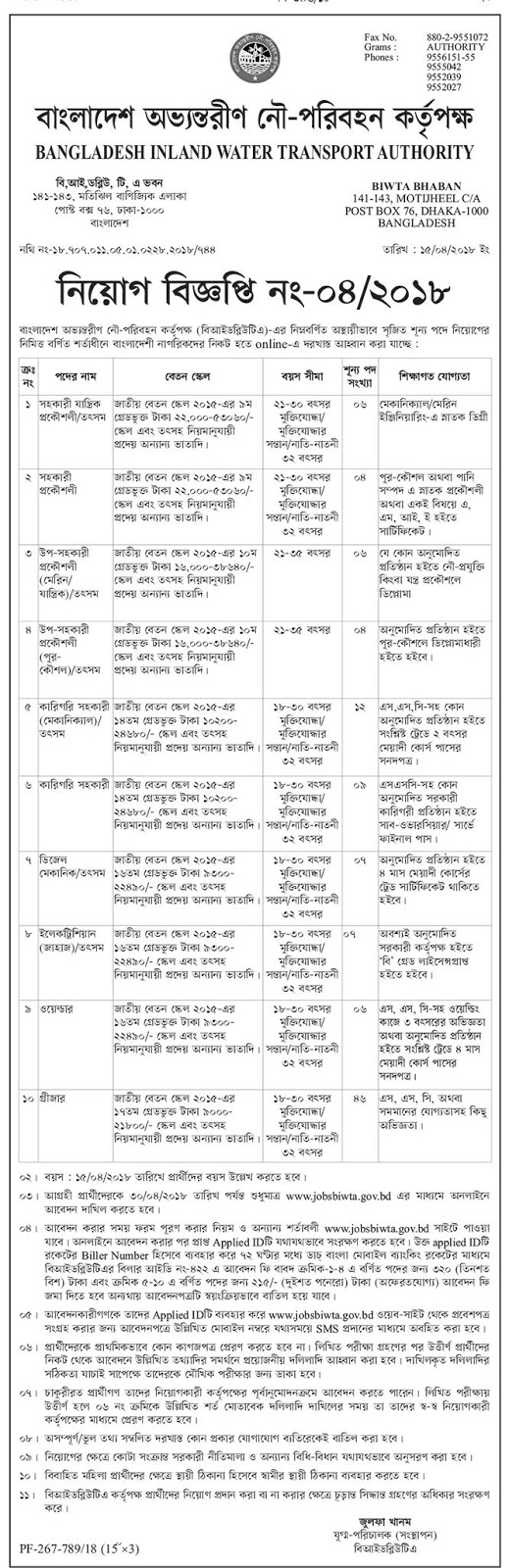 BIWTA - Bangladesh Inland Water Transport Authority Job Circular 2018