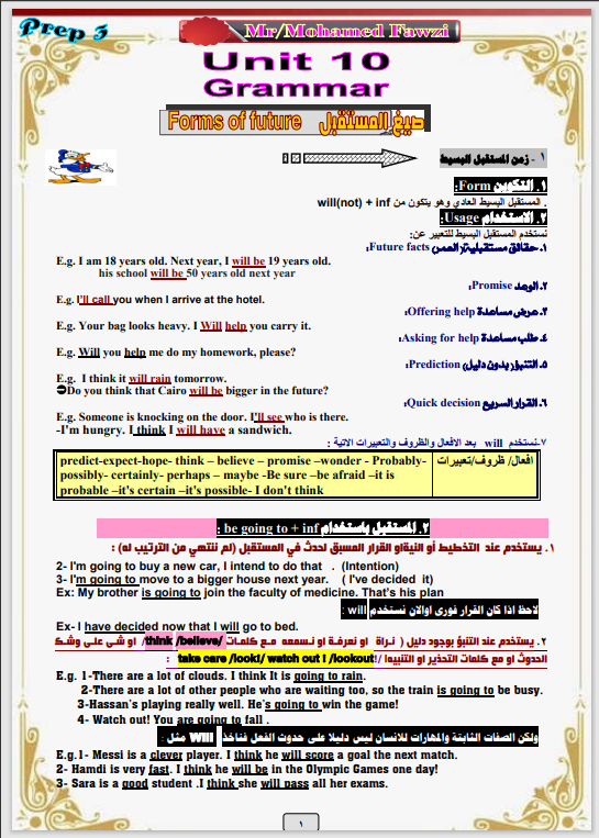 مذكرة قواعد اللغة الإنجليزية كاملة الصف الثالث الإعدادى الترم الثانى 2021 مستر محمد فوزى