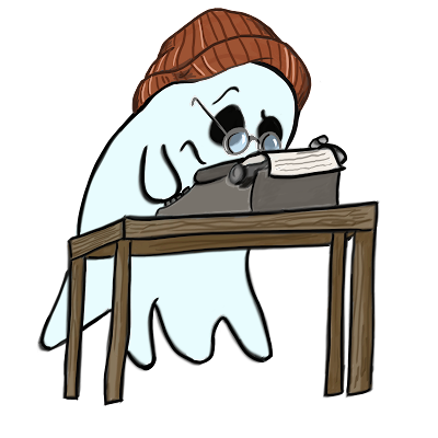 Ghost wearing a beanie and glasses hovers next to a table with a typewriter.