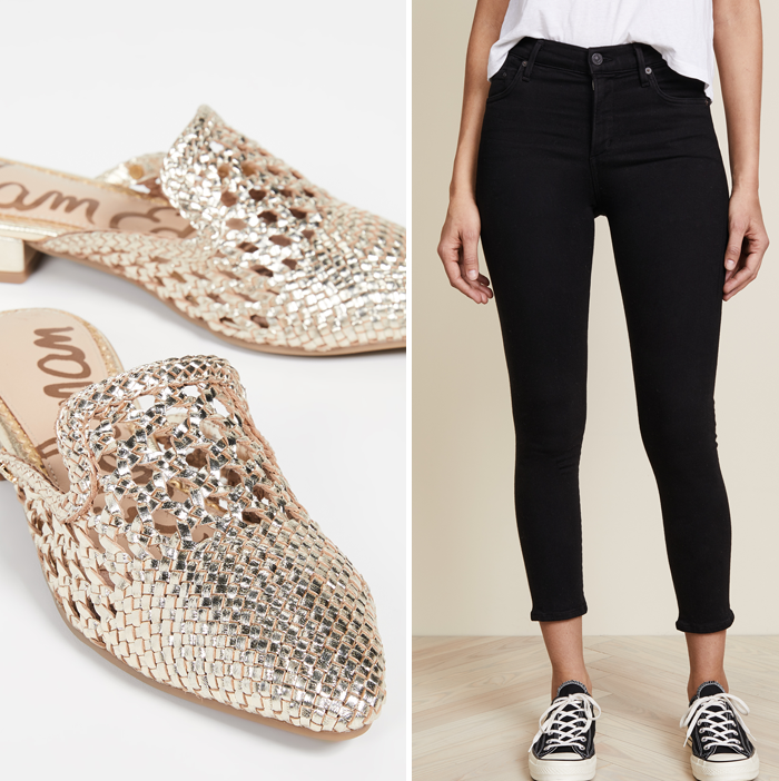 black skinny jeans citizens of humanity gold woven sam edelman mules