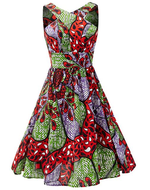 SHENBOLEN Women African Print Ankara Sleeveless Dress