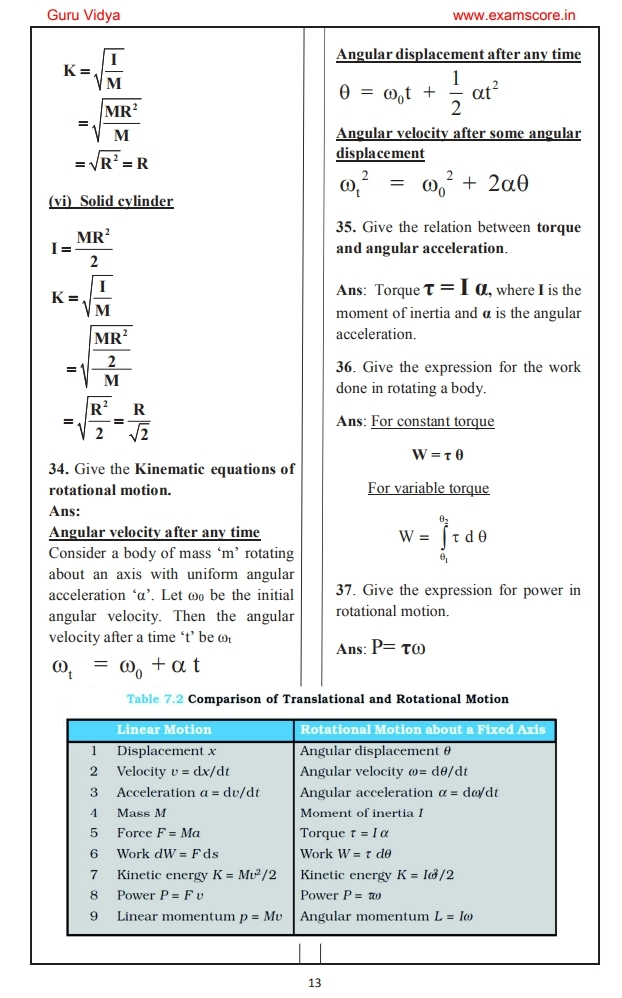 system of particles and rotational motion notes for class 11
