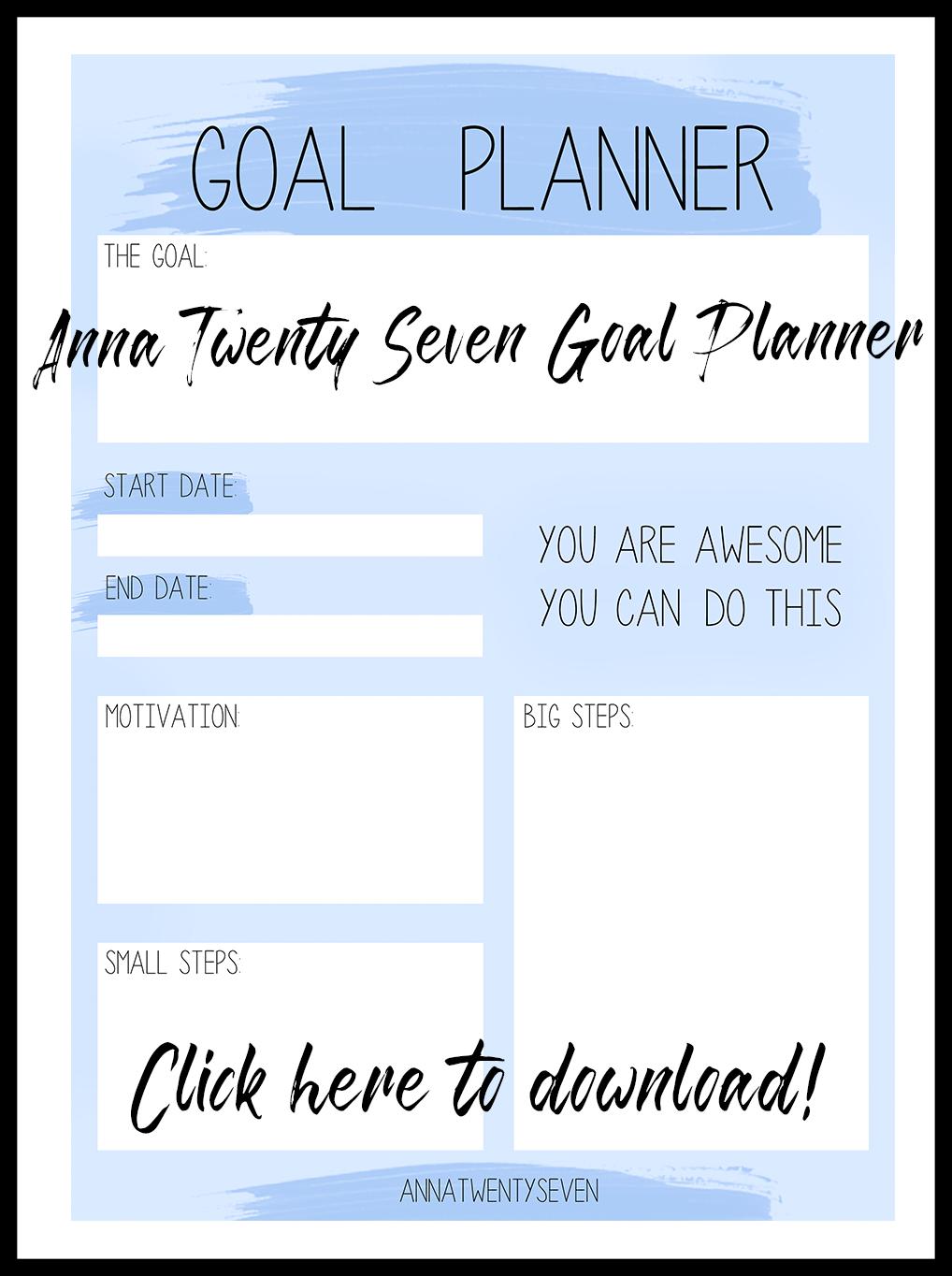 GOAL PLANNER PRINTABLE | ANNATWENTYSEVEN