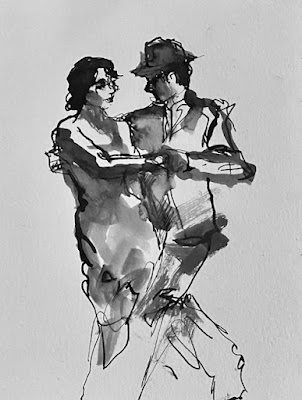 loose quick ink drawing couple dancing black white
