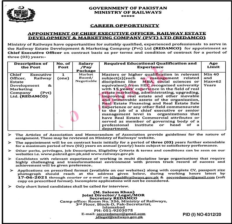New Jobs in Ministry of Railways Pakistan 2021  - Apply Online