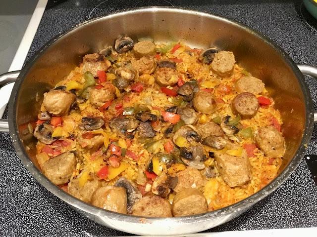 vegan sausage paella