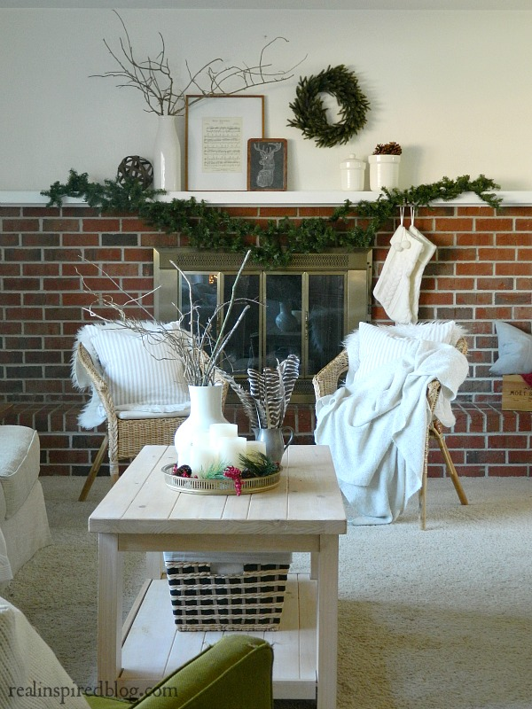 Rustic Green and Neutral Christmas Living Room Home Tour 2015