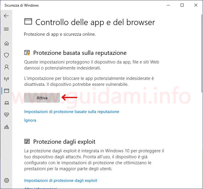 Sicurezza di Windows schermata Controllo delle app e del browser