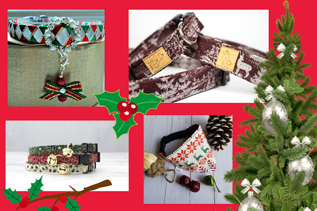 Artisan holiday gift guide for pet lovers. Pictured: Christmas cat collar with diamante, sparkle winter wonderland pet collar, Christmas pet bandana cat, collar with bell