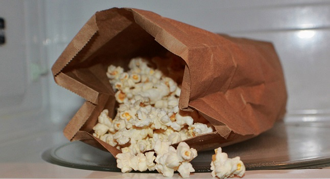 this is microwave popcorn in a paper bag