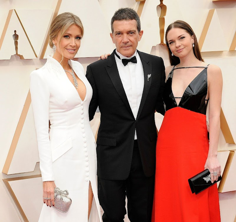 Stella Banderas and Antonio Banderas and Nicole Kimpel Clicks at 92nd Annual Academy Awards in Los Angeles 9 Feb-2020