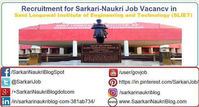 Naukri Vacancy Recruitment SLIET Sangrur Punjab