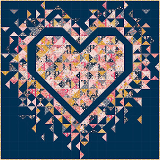 Exploding Heart quilt using Golden Aster collection from Riley Blake