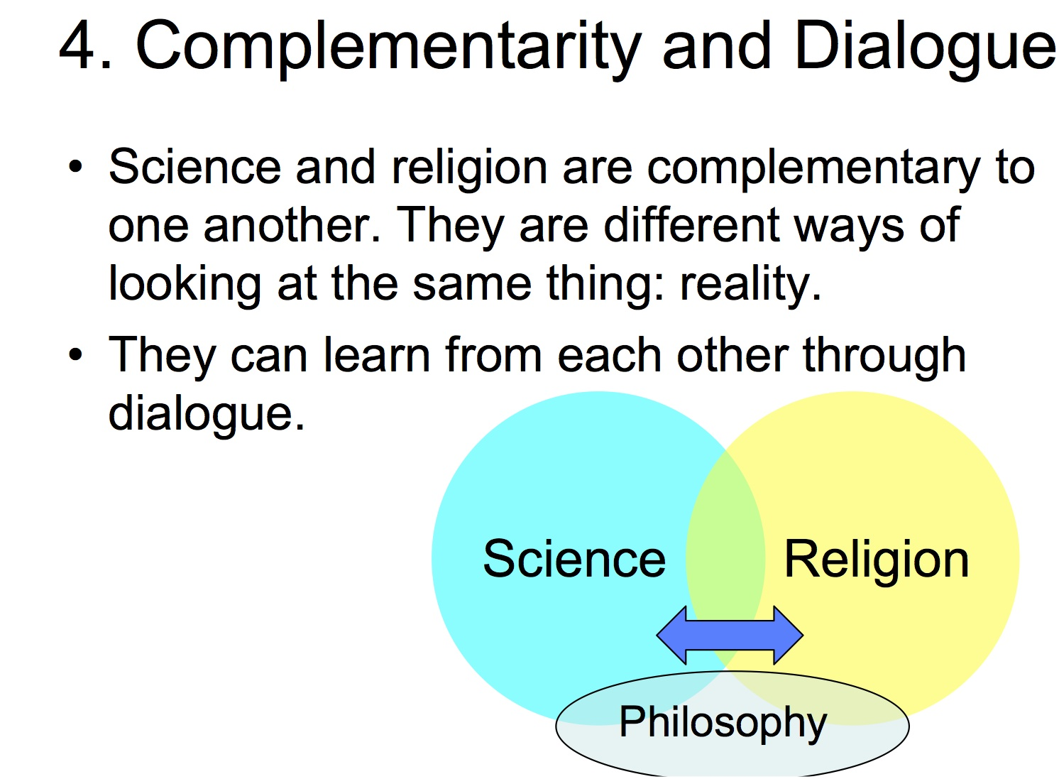 dialogue thesis science and religion In their enthusiasm to preclude religion from every sphere of culture, some otherwise clear-thinking scientific thinkers, instead of saying that it is possible to articulate and follow moral principles without the paraphernalia of traditional religions, make statements to the effect that science can teach us all morality as well.