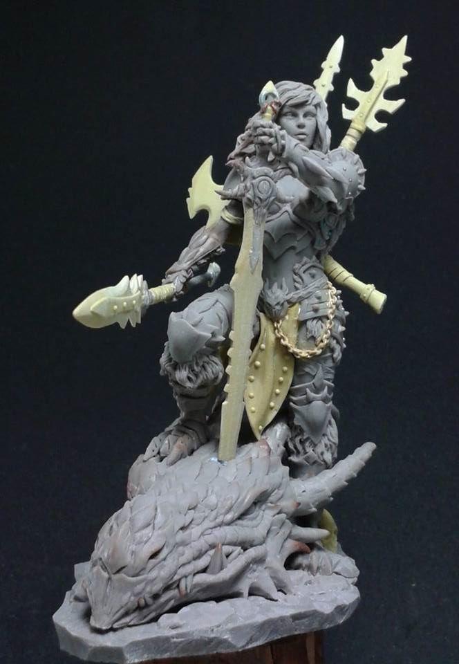 Tabletop Fix: Black Sun Miniatures - 75mm Dragon Huntress