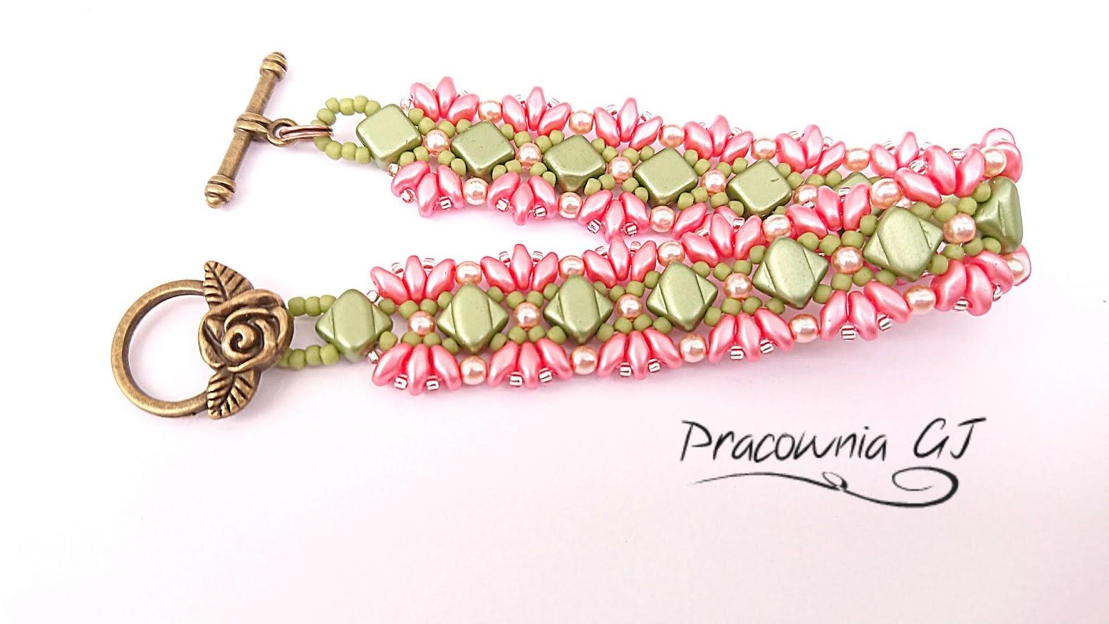 Różowa_i_zielona_bransoletka_z_pereł)i_silky_beads