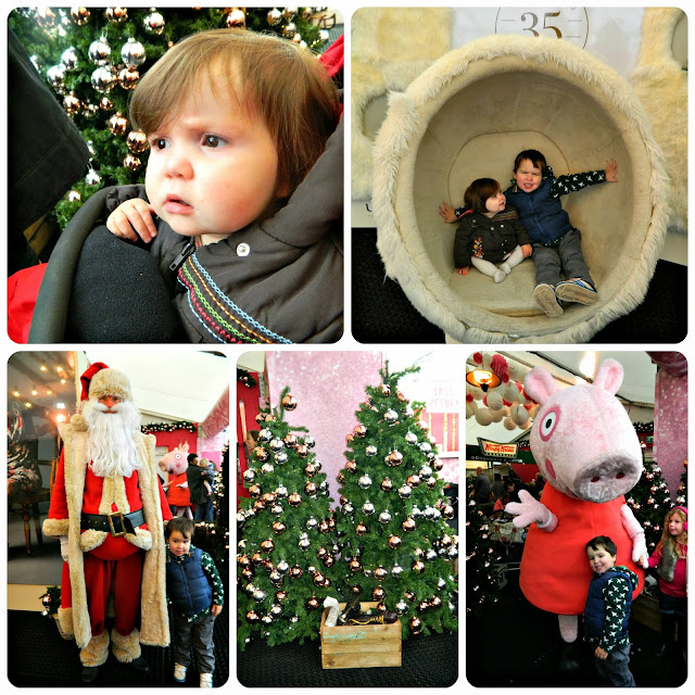 Fun rink-side at Selfridges Trafford Centre Ice Rink Father Christmas Santa Claus Peppa Pig Ugg Chair