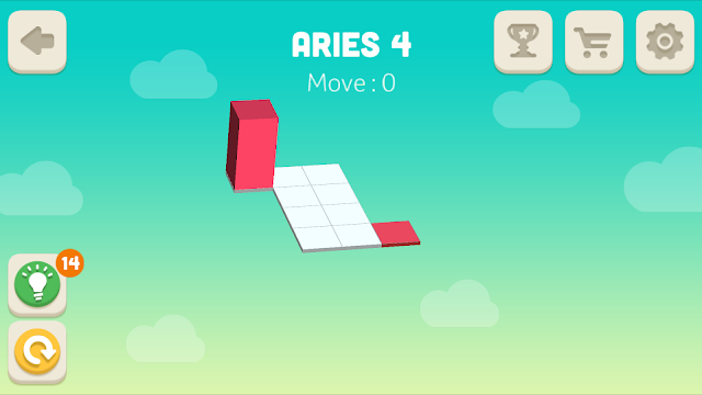 Bloxorz Aries Level 4 step by step 3 stars Walkthrough, Cheats, Solution for android, iphone, ipad and ipod