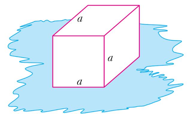 Một khối lập phương được đặt trên một vũng nước