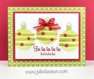 Stampin' Up! Sale-a-Bration Textures & Frames Christmas Ornaments Card ~ www.juliedavison.com #stampinup #saleabration
