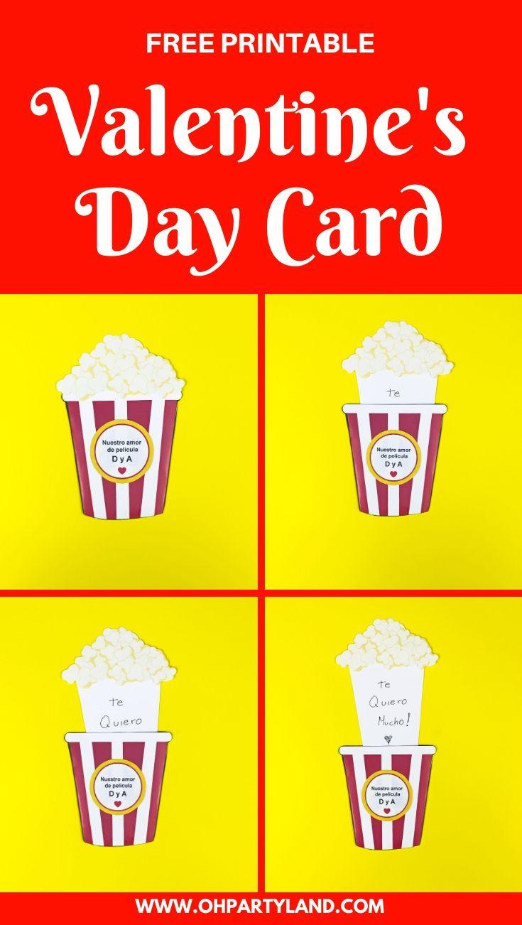 pop corn Valentine's Day card