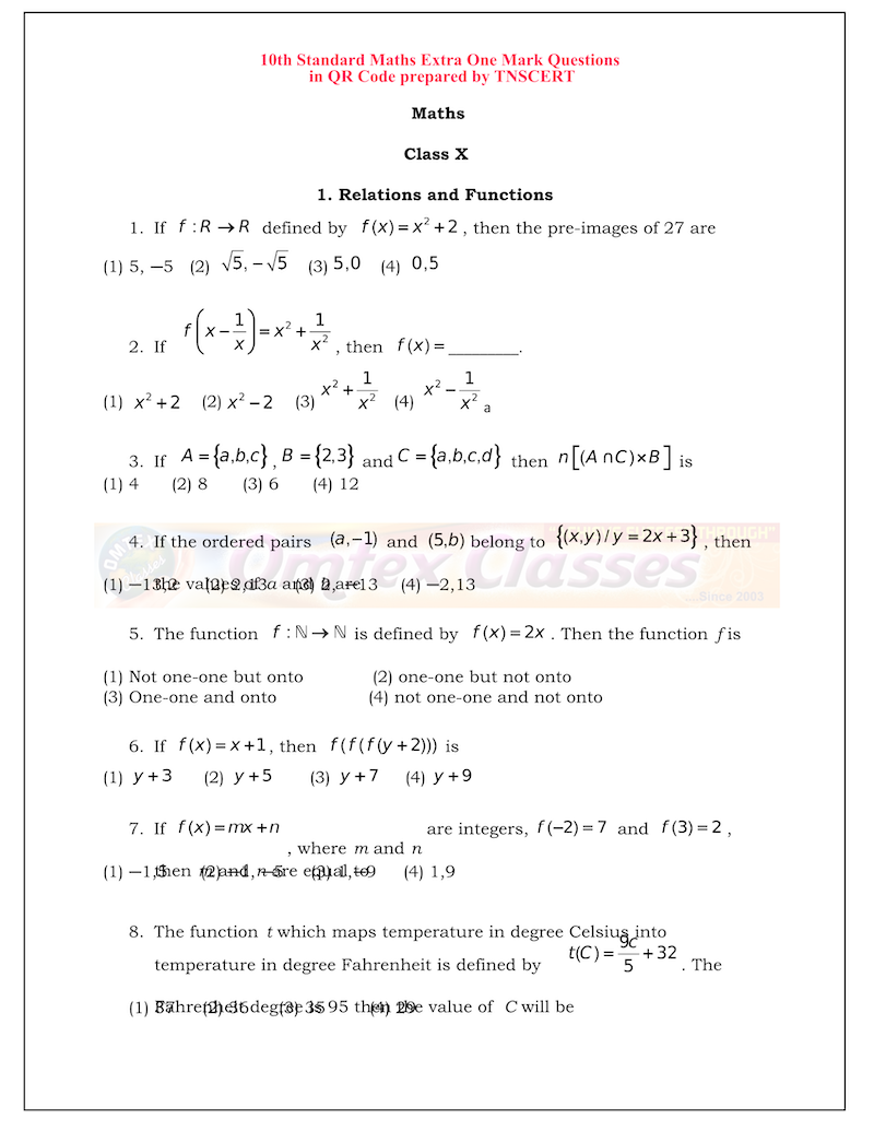 10th-maths-extra-1-mark-questions-from-diksha-app-english-medium