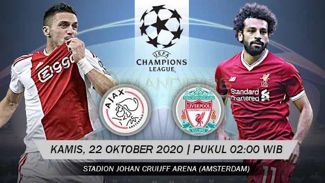 Prediksi Ajax Vs Liverpool, Kamis 22 Oktober 2020 Pukul 02.00 WIB @ SCTV