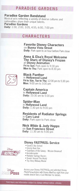 Disney California Adventure Times Guide August 10-16 2018 Paradise Gardens Park Characters