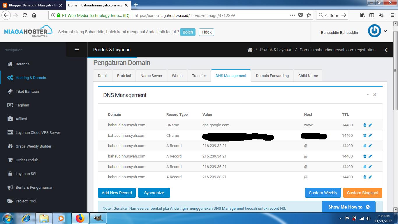 CNAME setup result for Blogger Custom Domain