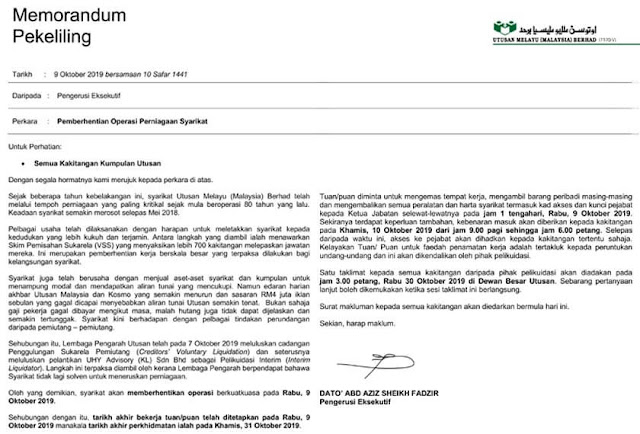 Memorandum Penutupan Utusan Melayu Dah Tutup, 9 Oktober 2019