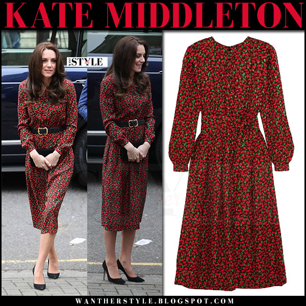 Kate Middleton in red floral print dress vanessa seward cai with black belt and black suede pumps what she wore