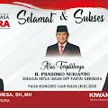 Ucapan Selamat Atas Terpilihnya Prabowo Subianto Sebagai Ketua Umum DPP Partai Gerindra