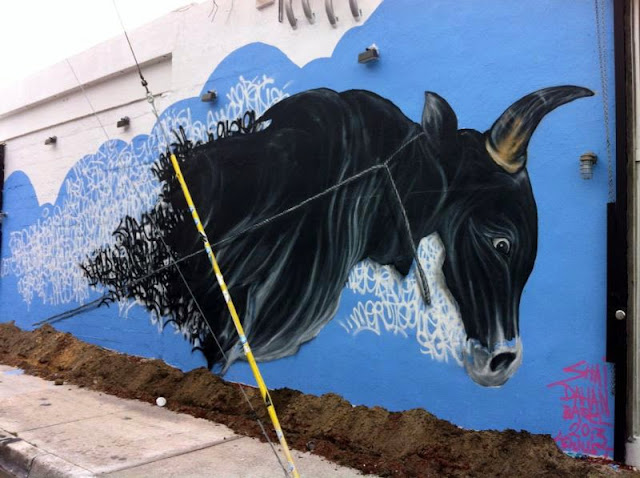 First Completed Street Art Mural by Shai Dahan In Miami For Art Basel 2013. 4
