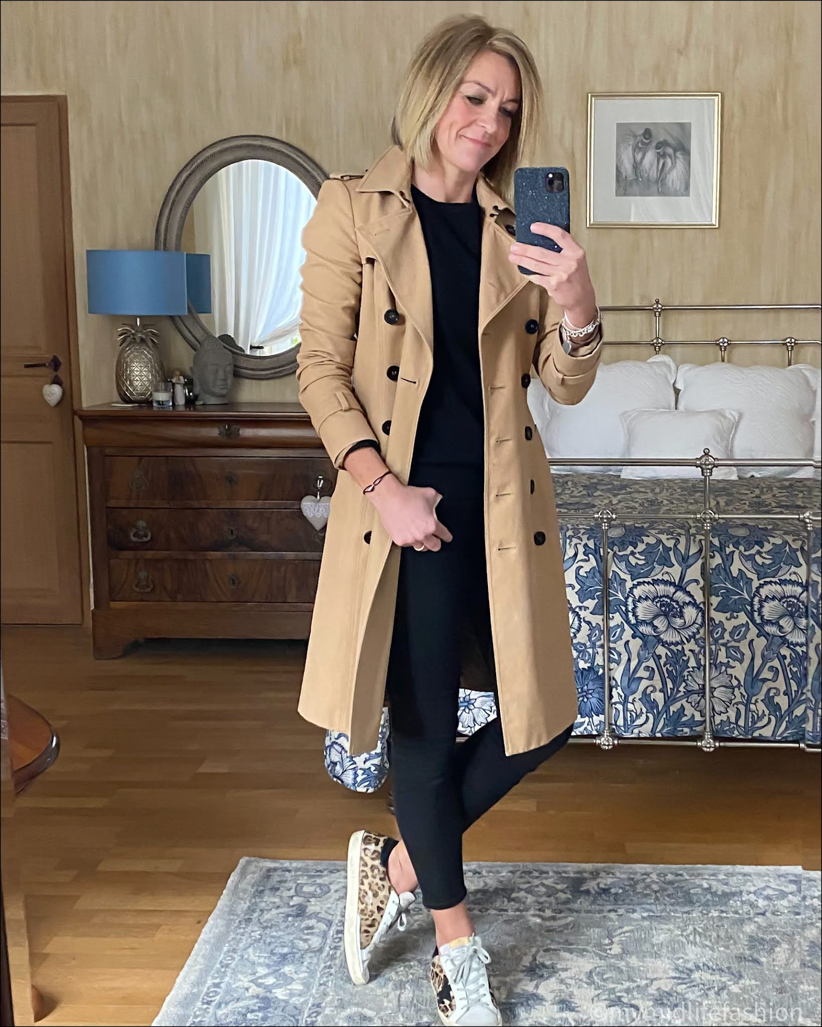 my midlife fashion, Burberry trench coat, marks and Spencer pure cashmere crew neck jumper, j crew 8 inch toothpick skinny jeans in true black, golden goose superstar low top leather trainers with leopard print