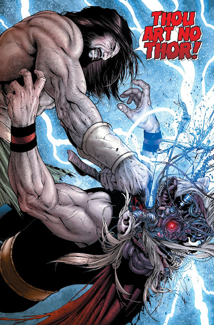 Hercules smashing the skull of Cyborg Thor
