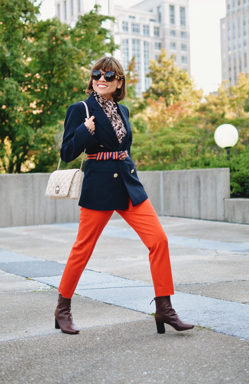 Outfit with orange pants
