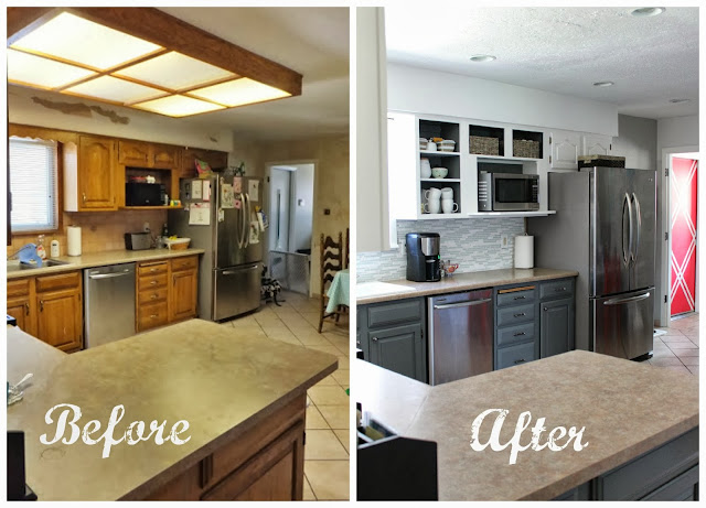 Before After Comfortable Kitchen Renovation on budget