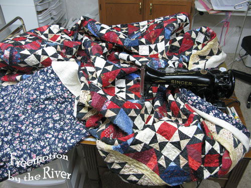 Quilting a large quilt on a domestic sewing machine