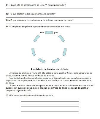 Atividades de Leitura - Atividades de Lingua Portuguesa - Responda