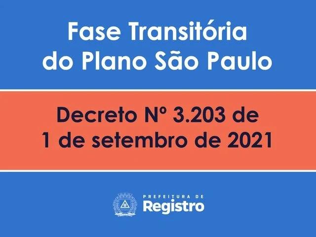 Prefeitura de Registro-SP emite decreto 01 setembro - Fase Transitória do Plano SP