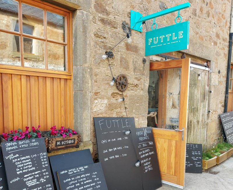 Futtle shopfront with blackboard menus at Bowhouse