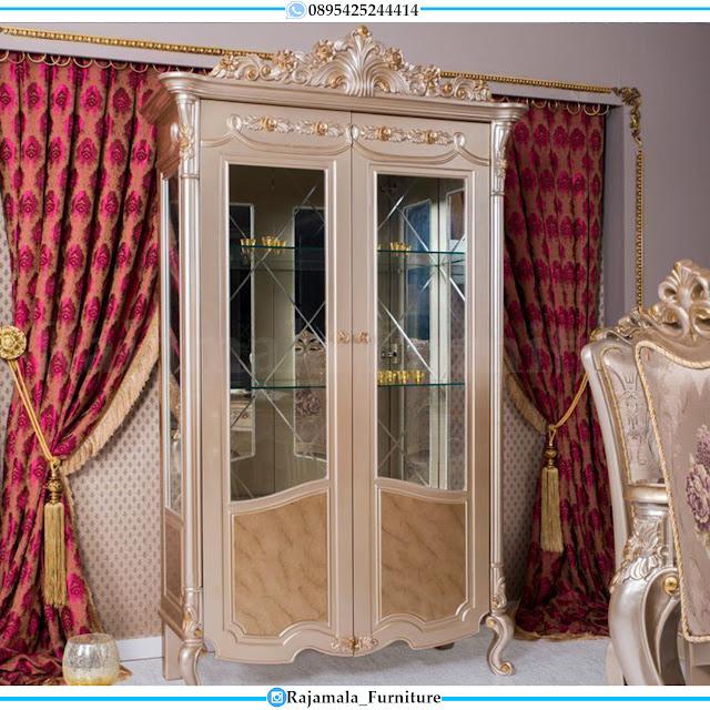For Sale Lemari Hias Kaca Mewah Classic Luxury Carving Jepara Terbaru RM-0476