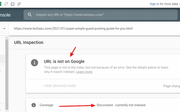 URL Inspection using Google search console