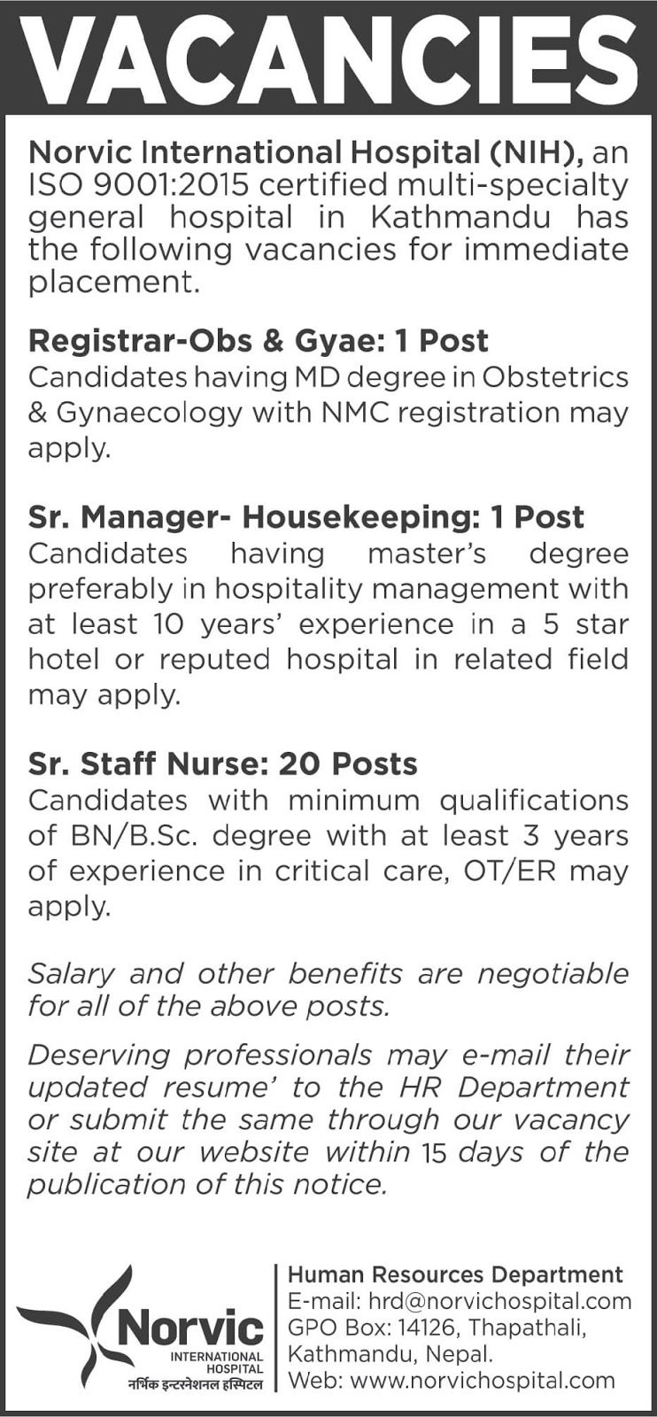 Norvic International Hospital Vacancies