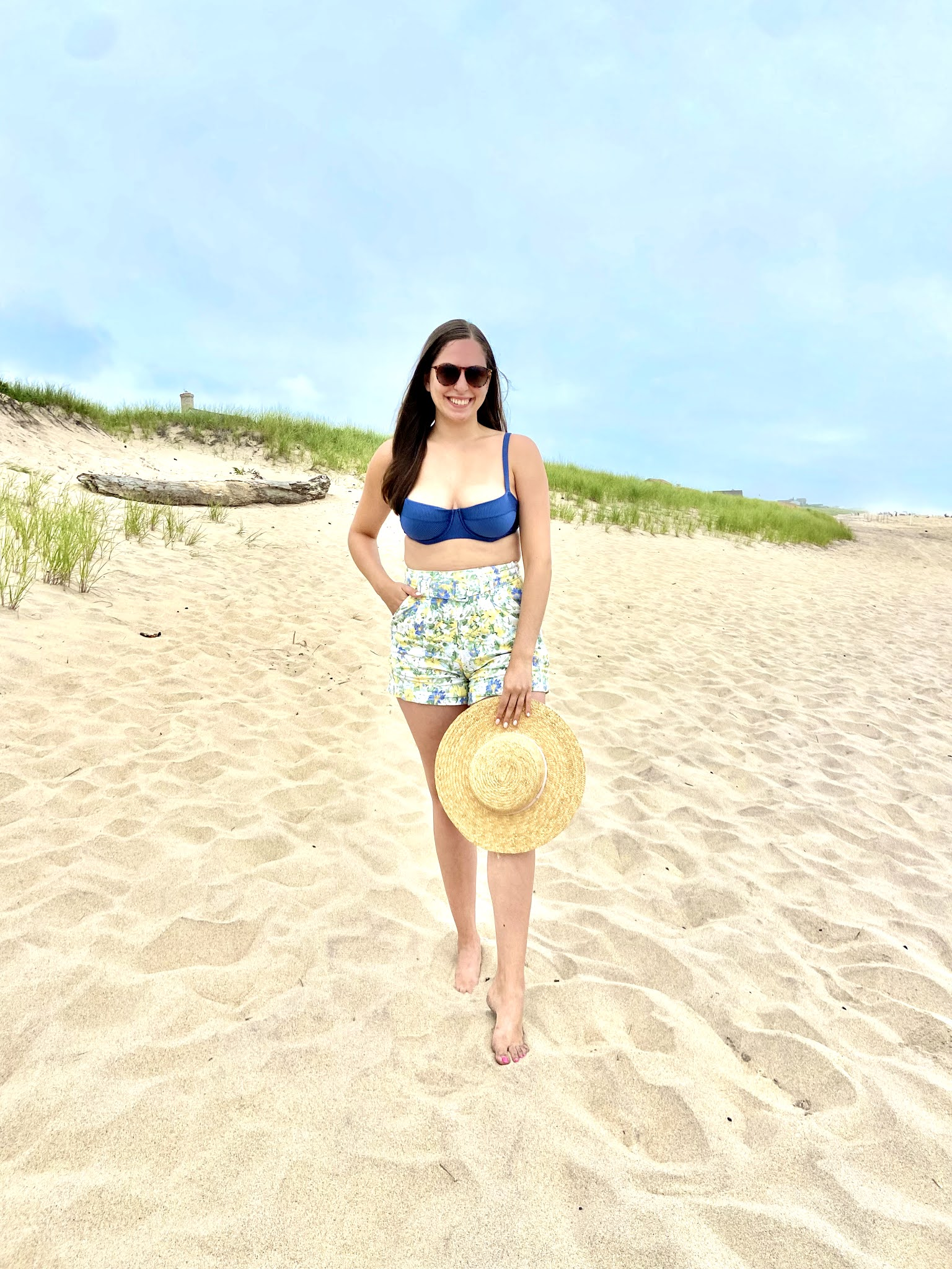 high waisted shorts, bikini top, east hampton, long island, summer