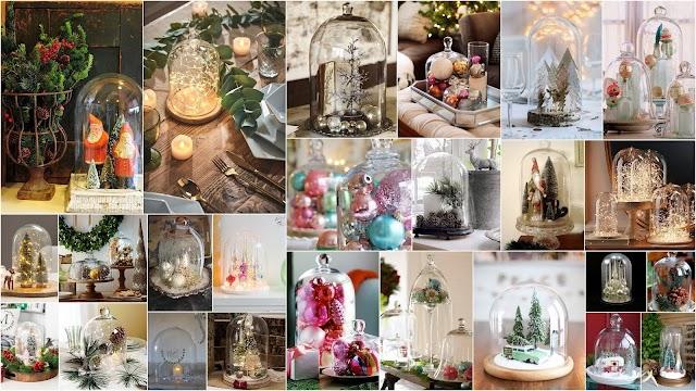 Χριστουγεννιάτικες συνθέσεις με γυάλινες διακοσμητικές καμπάνες