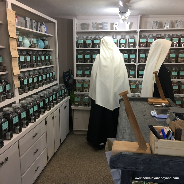 nuns shopping for tea at Duncans Mills Tea Shop in Duncans Mills, California