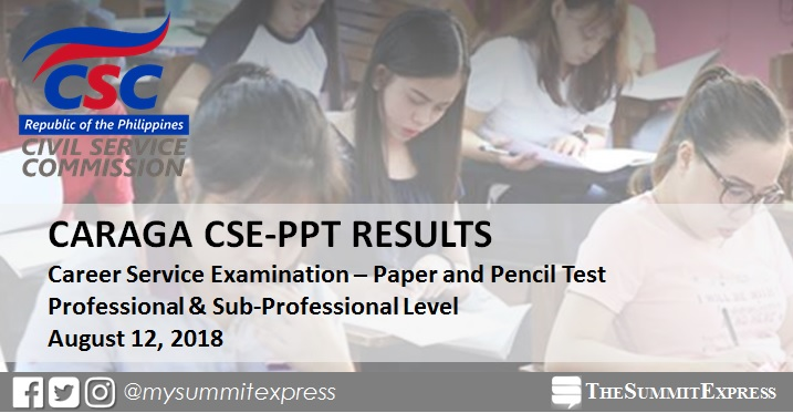 CARAGA Passers: August 2018 Civil Service exam result CSE-PPT