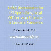 The recruitment of Union Public Service Commission (UPSC) has published the recruitment notification for the recruitment of 127 Assistant Director, Specialist Grade III Assistant Professor, Assistant Registrar, Legal Officer, and Assistant Keeper, Junior Lecturer and the Translator Posts.
