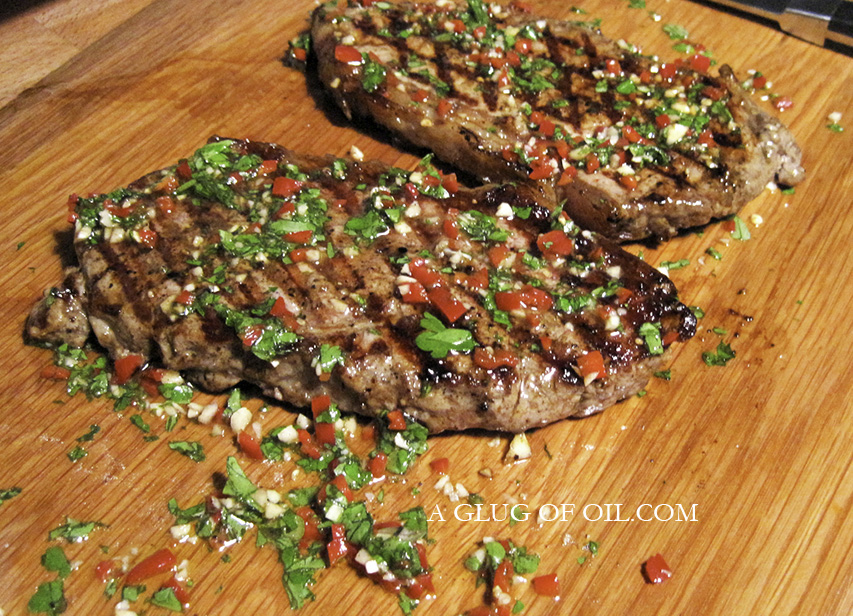Dress the Board Steak on a chopping board